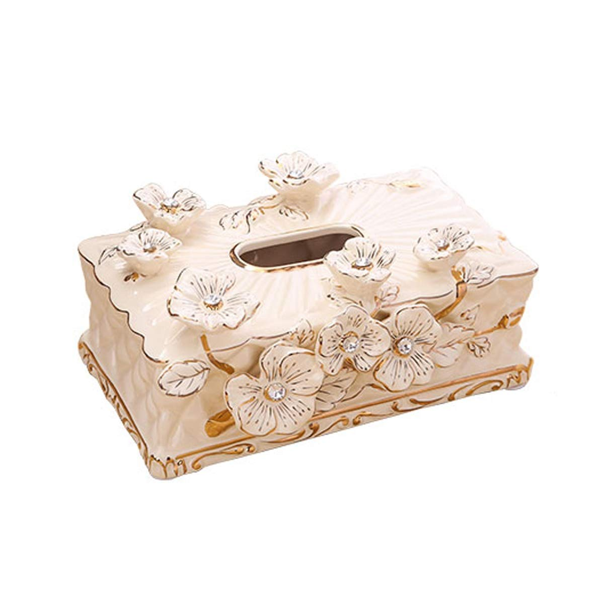 UCYG Ceramics Tissue Box Modern Home Living Room Coffee Table Decoration Desktop Creative Storage Napkin Box,Cream Color,281610cm by UCYG