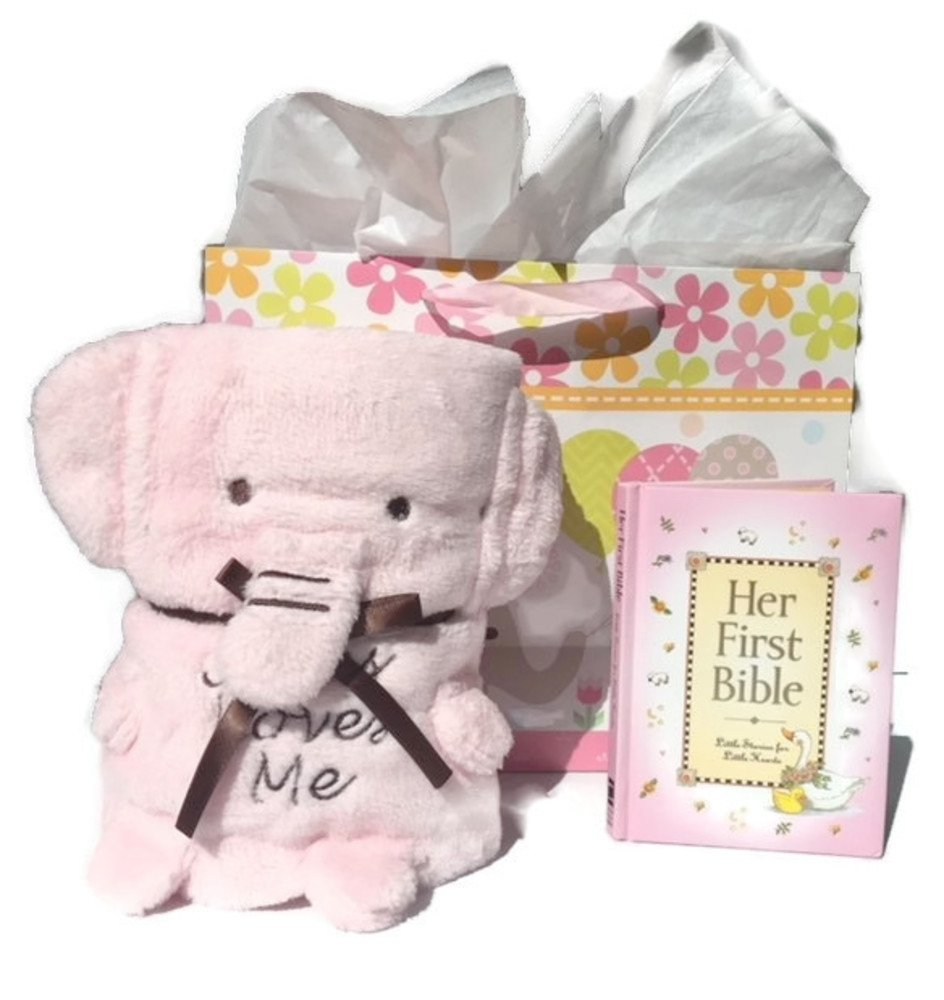 Baby Girl Baptism Christening 4 Item Gift Set Includes Pink Elephant Blankie with Jesus Loves Me, Baby's First Bible with Gift Bag and Tissue Paper (Pink)