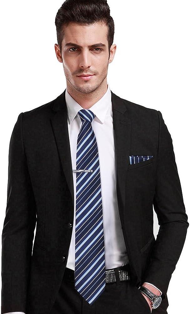 Vbiger Corbatas de Hombre 4 in 1 con 100% Poliéster (Azul 3 ...
