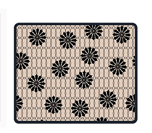 (Black Floral Fishnet Mouse Pad/Mat Stitched Edges Non-Slip Rubber Mousepad)