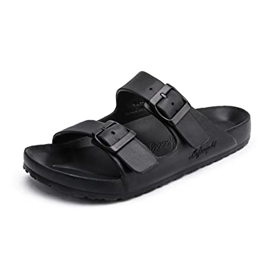 9e7a10487ab591 Men s Slide Sandals Flip-Flops Slippers Arizona 2-Strap Soft Women Footbed  Sandals Black