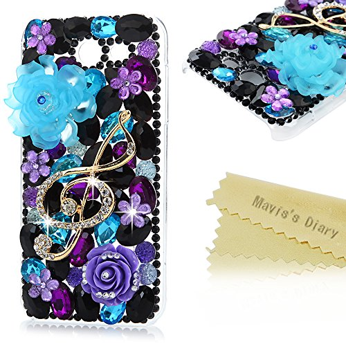 Galaxy J3 Emerge Case – Mavis's Diary 3D Handmade Bling Purple Diamonds Gold Music Character Purple and Blue Camellia with Shiny Sparkle Rhinestone Ge…