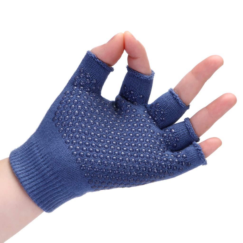 Sinwo Womens Gym Body Building Training Sports No-Slip Yoga Pilates Workout Gloves (Blue)