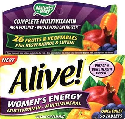 Amazon Com Nature S Way Alive Women S Energy Multivitamin Multimineral 50 Tabs Pack Of 2 Health Personal Care