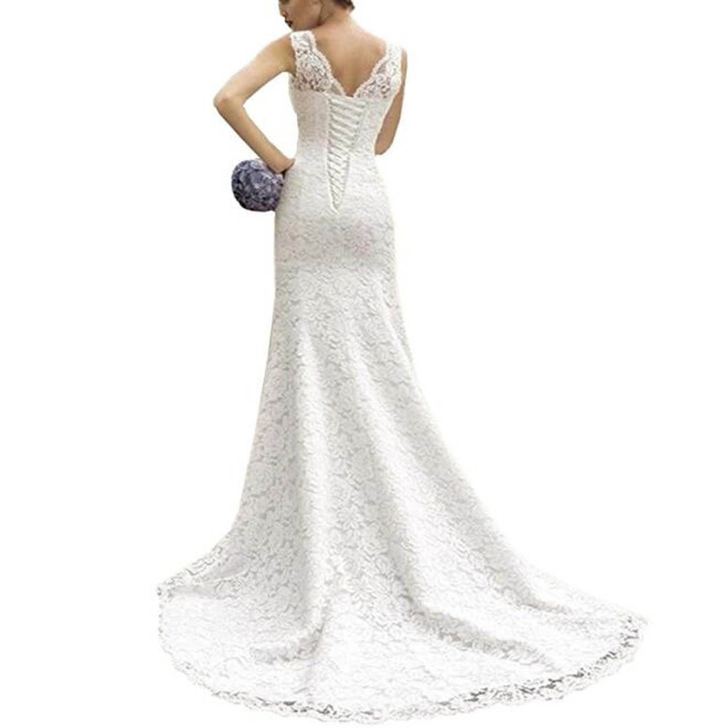 Fair Lady Sweetheart Lace Mermaid Wedding Dresses for Bride 2020 Strapless Full Lace Beach Bridal Gowns