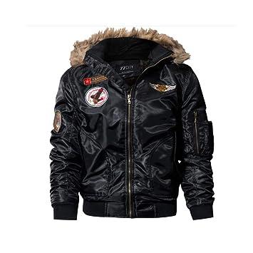 HUAN Abrigo de Invierno para Hombre, más Chaquetas de Terciopelo y tamaño Bomber Chaquetas Abrigos Outwear Windbreaker con Capucha (Color : Negro, ...