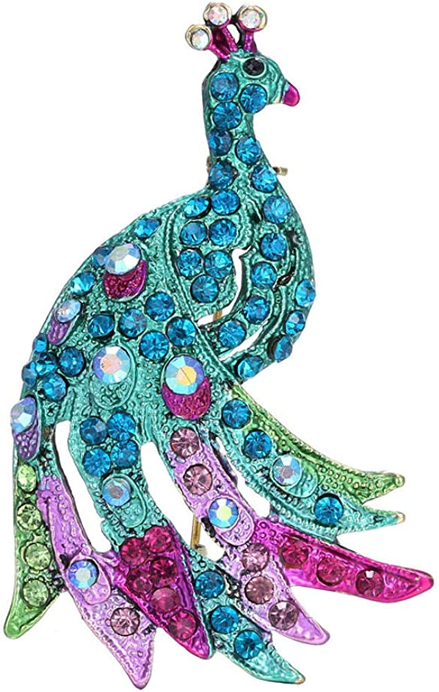 BJINUIY Scarf Pin Jewelry Alloy Inlaid Artificial Diamond Green Peacock Animal Xmas Jewellery Gift