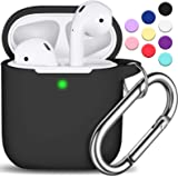 AirPods Case Cover with Keychain, Full Protective Silicone AirPods Accessories Skin Cover for Women Girl with Apple AirPods W