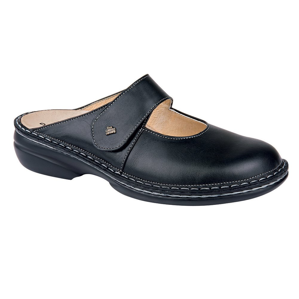 Finn Comfort Stanford Womens Loafers & Slip-Ons, Black Nappa, Size - 40
