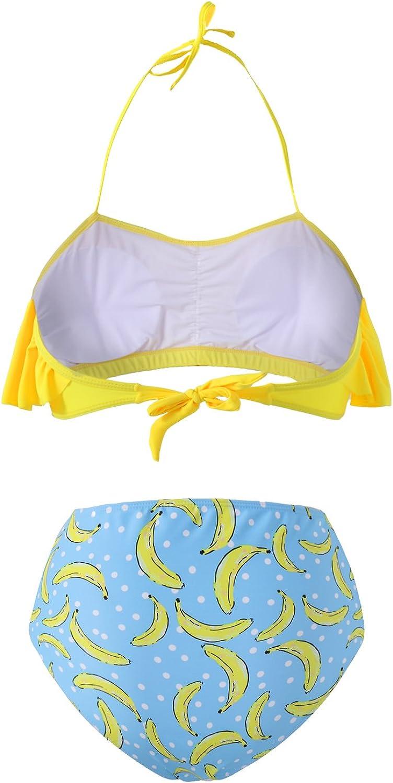 Kidsform Femme Maillot de Bain 2 Pi/èces Taille Haute Boho Grande Taille Tankinis Push Up Fleurie Slim Bikini de Plage Cache Ventre Hawa/ïenne Amincissant