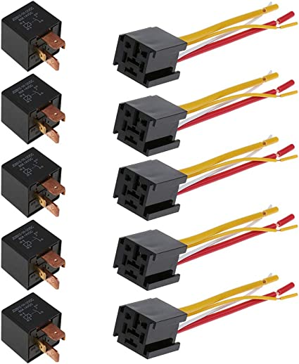 ESUPPORT Heavy Duty Car Automotive Relay 12V 30A SPST 4pin Socket Plug Pack of 5