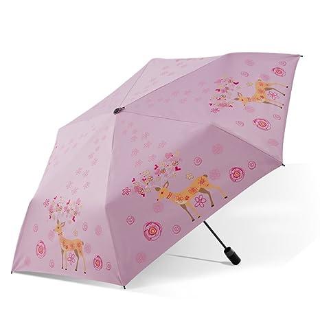 Paraguas plegablesCaucho Negro Sombrilla Paraguas Protector Solar Ligero De Fibra De Carbono,Pink