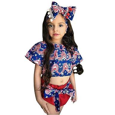 3PCS Toddler Baby Kids Girl Crop Top Shorts Headband Sunsuit Clothes Set