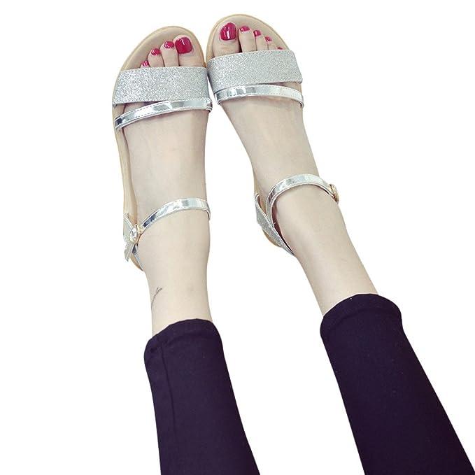 ZARLLE Sandalias Mujer Verano 2018 Sandalias De Verano Tacon De Lentejuelas Talon Plano Antideslizante Zapatos De