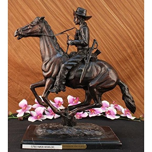 [...Handmade...European Bronze Sculpture Trooper Of The Plains By Frederic Remington On Marble Base 19