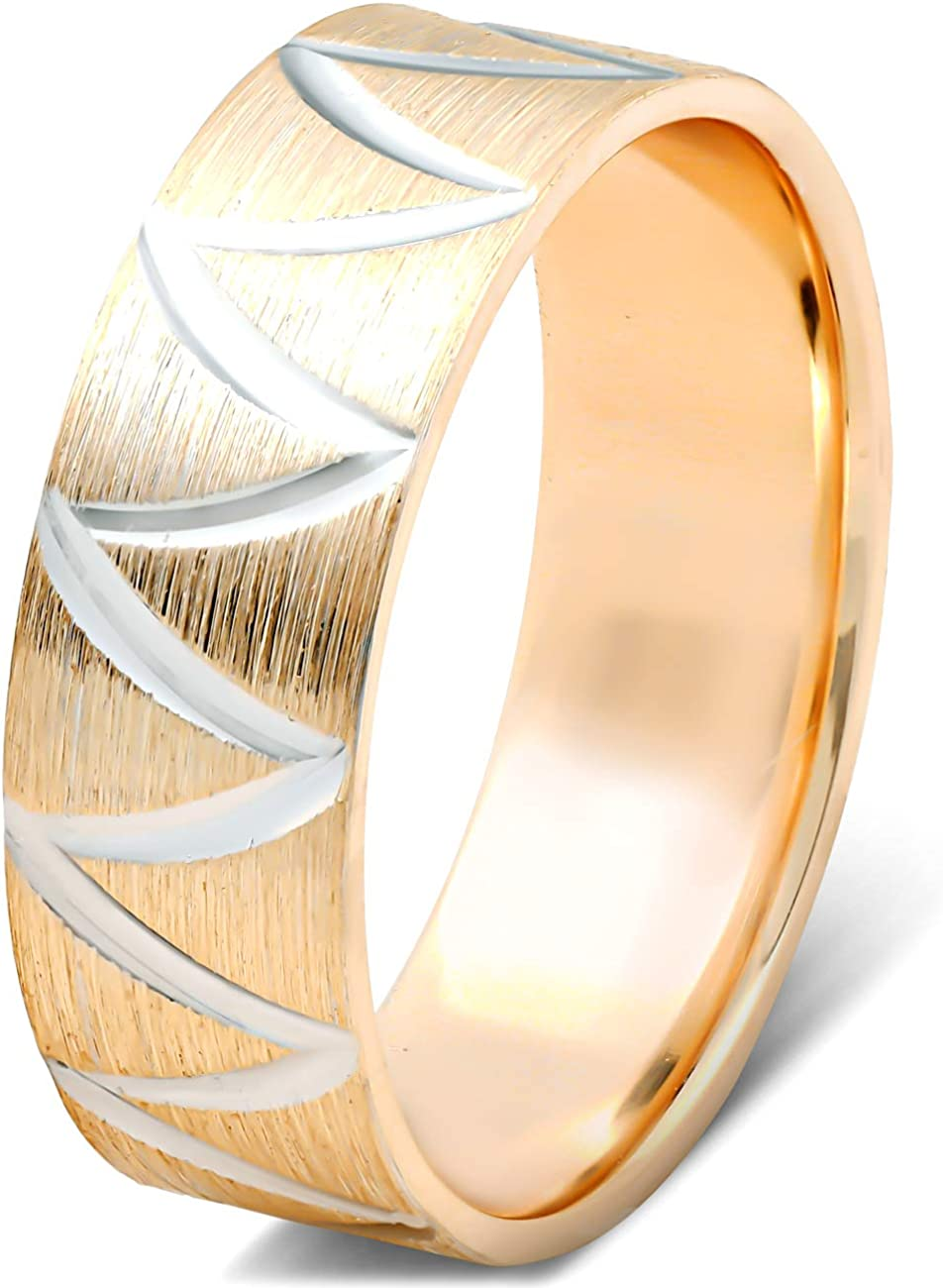 10k Yellow Gold Two Tone 6mm Flat Brushed Hand Carved Wave Mens Wedding Band