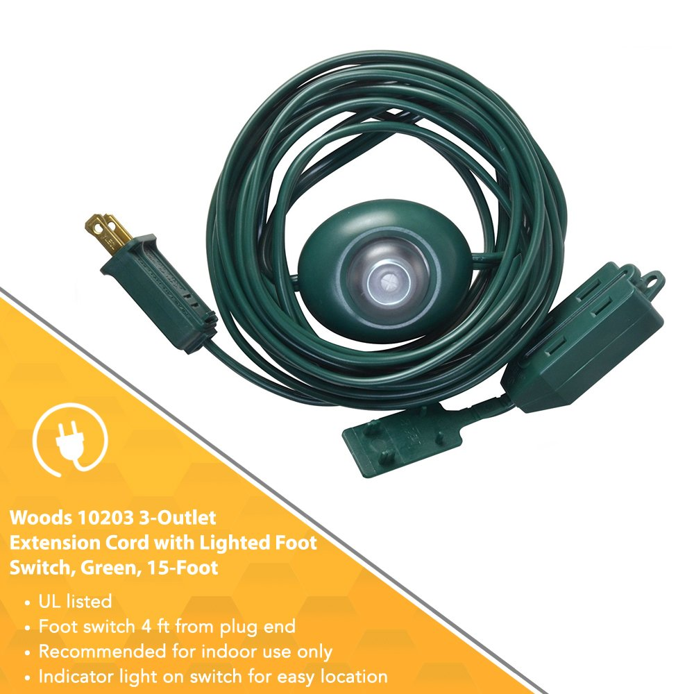 Woods Indoor Extension Cord With Lighted Foot Switch And 3 Outlets Wiring A Light Outlet 15ft Green Christmas Tree