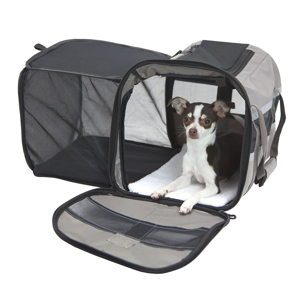 SportPet Designs Travel Soft-Sided Pet Carrier, Waterproof Travel Pet Bed, Portable Pet Bed with Zipper, with Expandable Option SP-0370-CS01