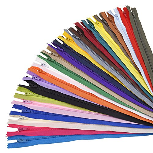 Frienda 50 Pieces Nylon Coil Zippers for Tailor Sewing Crafts 25 Colors Nylon Zippers (20 Inch)
