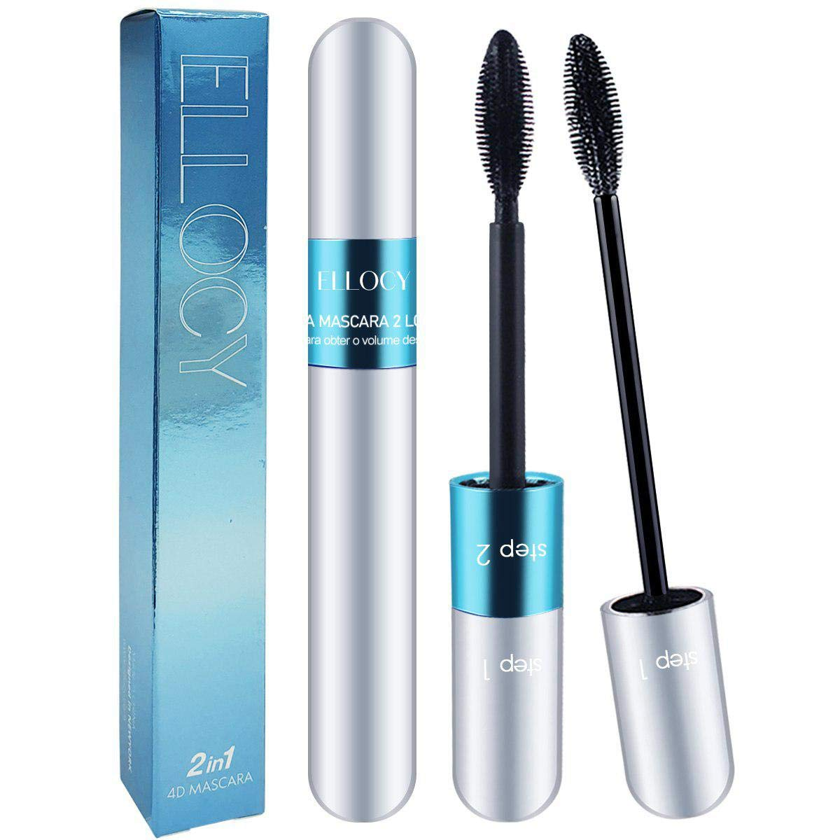 Ellocy 4D Silk Fiber Lash Mascara, 2 in 1 Mascara for Natural and Voluminous Look