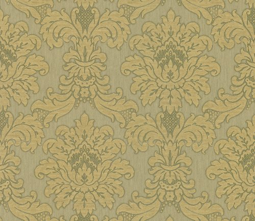 (Brewster 142-4017 Beacon House Bellissimo III Large Traditional Damask Wallpaper, 27-Inch by 396-Inch, Metallics)