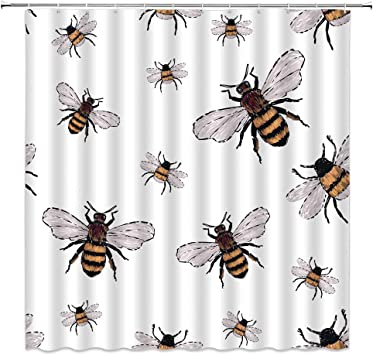 Amazon Com Xzman Bees Shower Curtain Watercolor Bumble Big Honey Bee Insects Funny Trendy Vintage Traditional White Black Yellow Bathroom Decor Quick Drying Polyester Fabric 72 X 72 Inches Set Include Hooks Furniture