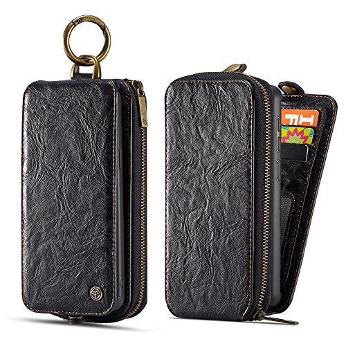Samsung Galaxy S9 Plus Cordón de bolsillo de cremallera de gran capacidad de cuero Cartera de cuero caso con muñeca separable de 360 grados de protección Portatarjetas de embrague de lujo Caja para Sa Negro