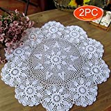 Product review for Elesa Miracle 22 Inch 2pc Handmade Round Flower Crochet Cotton Lace Table Placemats Sofa Doilies Value Pack, Floral Hoop, Beige (2pc-22 Inch White)