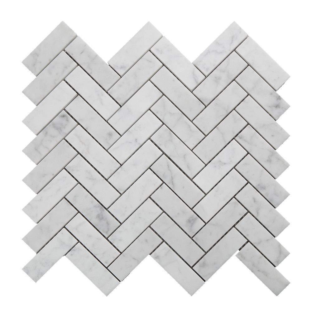 Diflart Italian White Carrara Marble Mosaic Tile Polished, 5 Sheets/Box (1×3 Herringbone)
