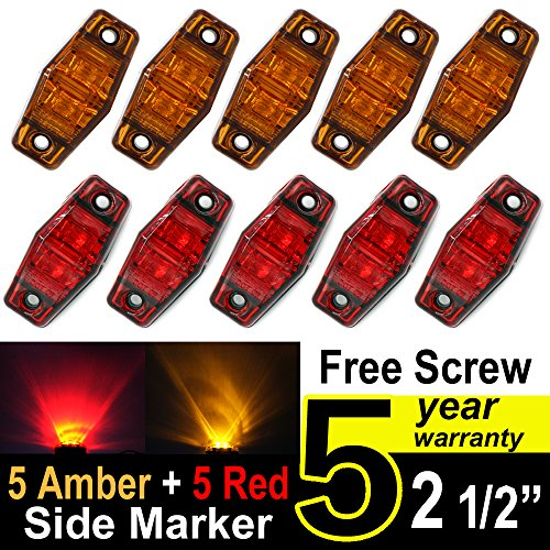 Tmh 2.5-Inch 5 Amber Lens and 5 Red Lens Side Marker LED Indicator by TMH