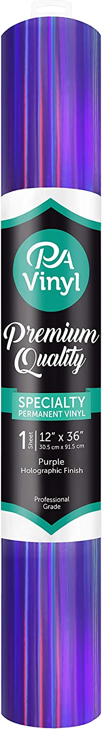 PA Paper Accents Vinyl ROLLRAIN-33 PA 12x 36 Permanent Adhesive Backed Holographic Vinyl-Purple for use with Cricut Cameo Silhouette