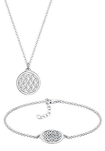 Elli Damen Schmuck Schmuckset Halskette + Armband Lebensblume Ornament  Talisman Silber 925 Länge 45 cm dbffc769aa