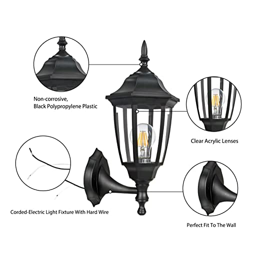 Fudesy 2 Pack Outdoor Wall Lanterns Corded Electric 12w Plastic Led