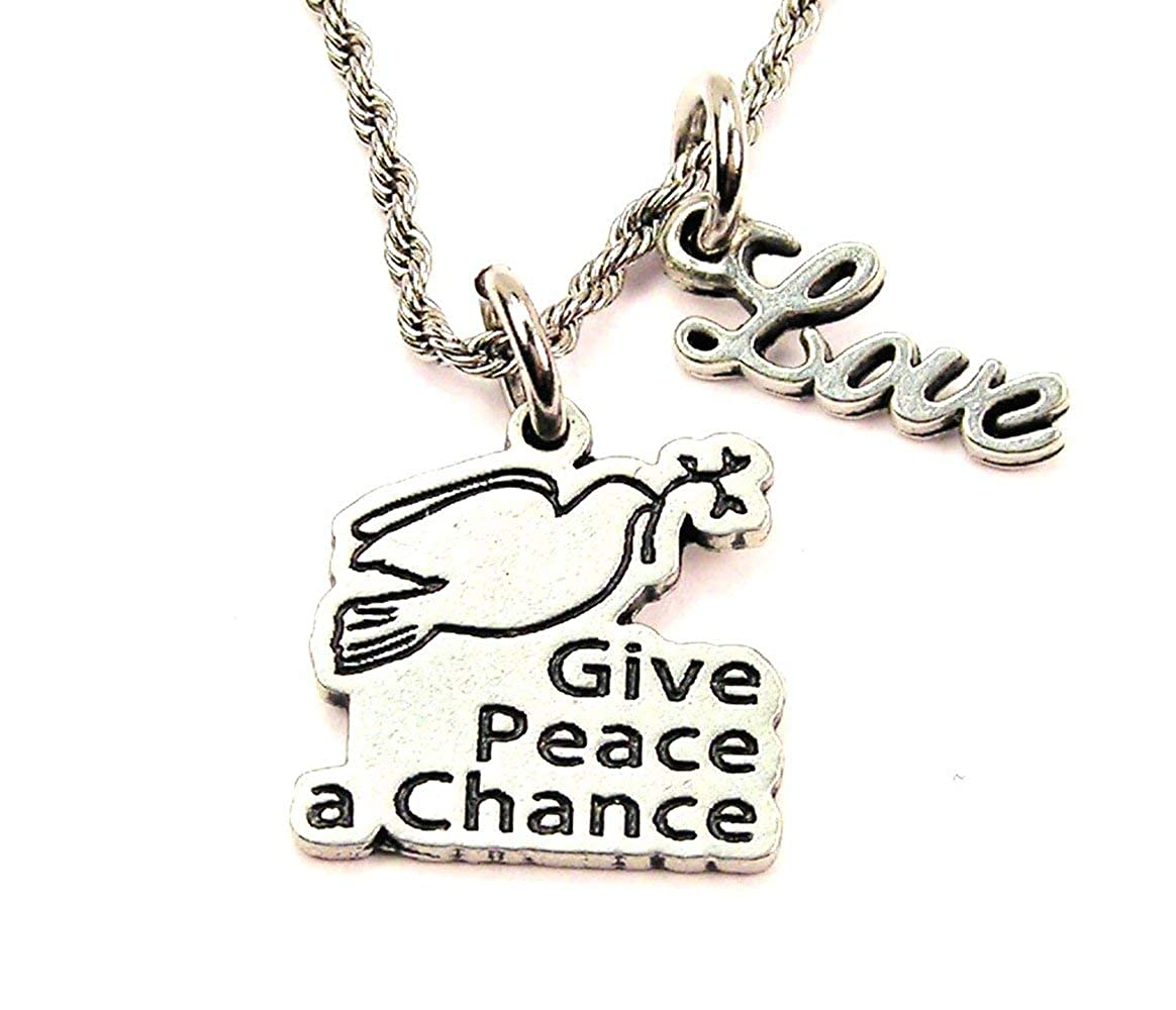 ChubbyChicoCharms Give Peace A Chance Stainless Steel Rope Chain Cursive Love Necklace