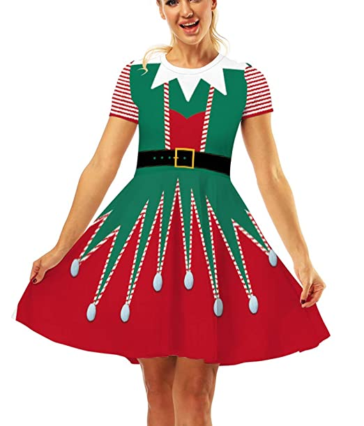 Ainuno Ugly Christmas Dress For Women Red Green Print Holiday Dresses For Xmas