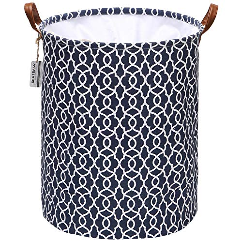 Sea Team Moroccan Geometric Pattern Laundry Hamper Canvas Fabric Laundry Basket Collapsible Storage Bin with PU Leather Handles and Drawstring Closure, 19.7 by 15.7 inches, Waterproof Inner, Navy Blue