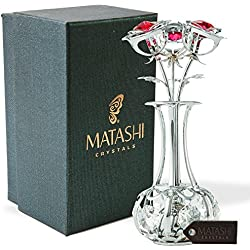 SunFlowers In vase Ornament Crafted with Stunning Clear Crystals, Comes in Luxury Packaging – Great Gifts idea for Mom from Daughter, Son by Matashi (Silver, Red Crystals)