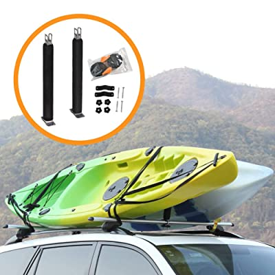 Onefeng Sports Heavy Duty Padded Upright Roof L Bar Vertical Kayak Roof Racks Holder Kayak Car Carrier(Carries 2 Kayaks): Automotive