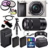 Sony Alpha a6000 Mirrorless Digital Camera with 16-50mm Lens (Silver) + Sony E 55-210mm f/4.5-6.3 OSS E-Mount Lens 32GB Bundle 23 - International Version (No Warranty)