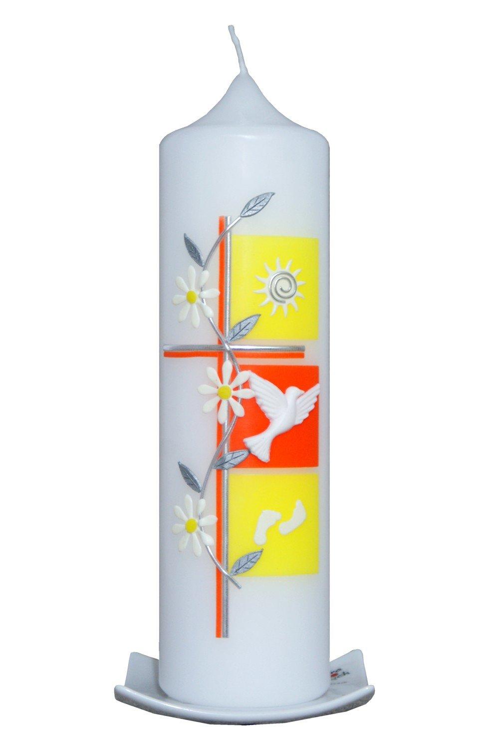 Den Beschriftungswunsch bitte an: info@artecera.com wird NUR auf Kundenwunsch f/ür Sie gefertigt Taufkerze Kreuz mit 3 Quadraten und Blumenranke 25x7cm rapsgelb-orange Vorname und ein Datum Bei uns bekommen sie keine Massenware