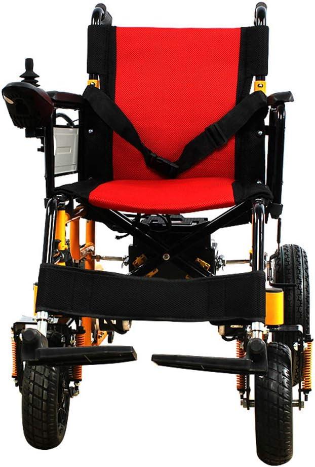 LYN&xxx Aluminio Silla de Ruedas, Silla de Ruedas eléctrica Plegable de Peso Ligero de Ancianos discapacitados Vespa Cuatro Ruedas sillón de Ruedas Mayor Inteligente portátil
