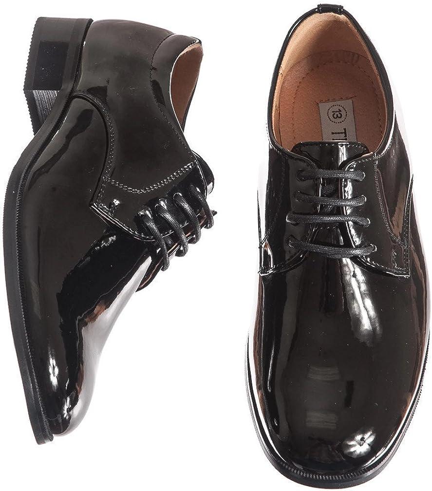 Boys Shiny Black Tuxedo Shoes Round Toe Style in Infant to Boys Sizes