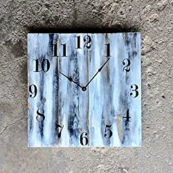 Large Solid Wood Wall Clock - 20 White Distressed Finish - Choose Your HAND STYLE - Made With USA Made Clock Parts made by Seeka Decor