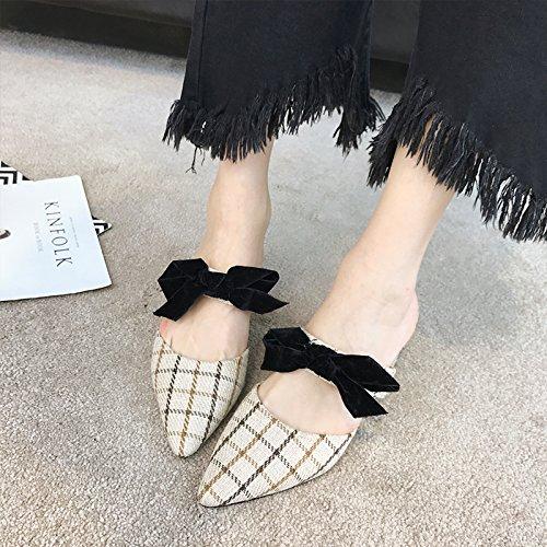 Angrousobiu Tipp Licht Licht Licht - einzelne Schuhe weiblichen Bow Tie Sommer Sandalen Dicke mit Hausschuhen ec2de4