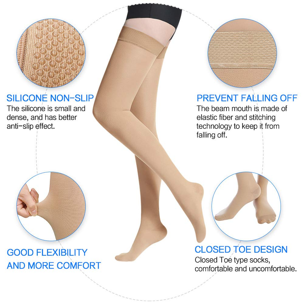 SKYFOXE Medical Thigh High Compression Stockings for Women Men- Closed Toe Firm Support 20-30 mmHg Gradient Compression Socks Support Hose for Treatment Swelling, Varicose Veins, Edema by SKYFOXE (Image #4)