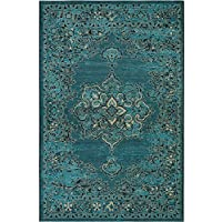 Safavieh Palazzo Collection PAL124-16213 Turquoise and Black Area Rug (4 x 6)