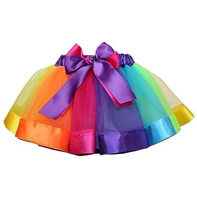 96e5ad80742fc Happy Cherry - Jupe Tutu Tulle Enfants Filles Arc-en-Ciel Chic Élastique  Costume