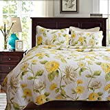 mixinni Floral Patchwork Bed Spread 3 Piece Reversible Romantic Quilt Set with Shams Print Pattern Yellow Luxury 100% Cotton Bedding