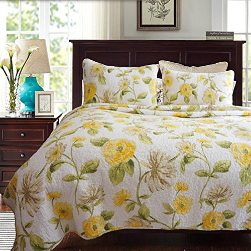 mixinni Country Sunflower 3-Piece Luxury Patchwork Washed Cotton Reversible Quilt Set With Shams