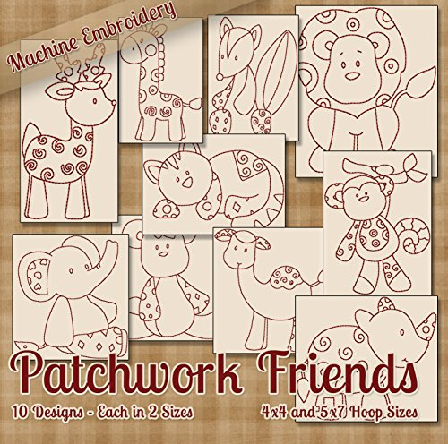 (Patchwork Zoo Friends Redwork Embroidery Machine Designs on CD - 10 Cute Whimsical Patterns - 2 Sizes Each - PES JEF EXP XXX VIP HUS DST)
